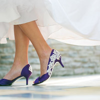 Wedding Shoes - Purple Wedding Shoes, Purple Wedding heels with Ivory Lace. US Size 9.5