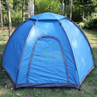 180T  Polyester 6.9mm Fiberglass Tent 3 - 4 Person Blue/Yellow  Outdoor Camping