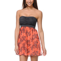 Lunachix Charcoal &amp; Coral Print Crochet Strapless Dress