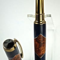 Wooden Pen Hand Turned Rollerball Pen Amboyna Burl and Blue Sparkle Acrylic and Aluminum Accents Gold Hardware 433U