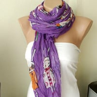 Five Bunnies are Shopping Purple Cotton Long Scarf