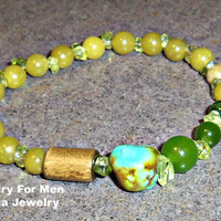 "Bracelet For Men: Aventurine, Turquoise, Peridot, Wood  & Quartzite  ""Boundaries"""