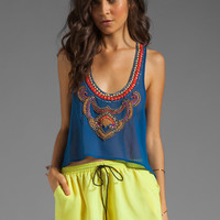 6 SHORE ROAD Nuri Beaded Crop Top in Electric Ocean from REVOLVEclothing.com