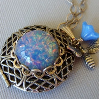 Silver Locket And Blue Opal Pendant Necklace With Bumblebee And Flower Charms