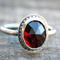 Rose cut Garnet Sweetheart Ring