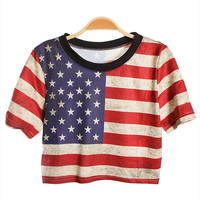 amazinglife — National Flag Print Loose Short T-shirt