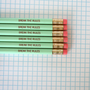 break the rules pencil pack of 6 in mint green.