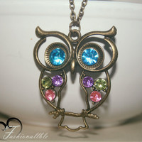 Colorful Owl Necklace with an Antique Bronze