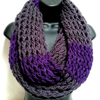 The Gentleman's Crochet Infinity Scarf: Gray and Purple