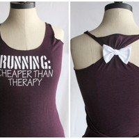 Running Cheaper than Therapy Bow Tank Top - SMALL