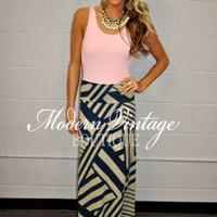 Geo Designed Maxi Skirt Blue - Modern Vintage Boutique