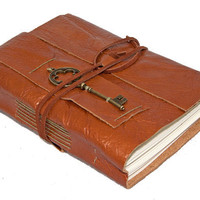 Light Brown Leather Journal with Key Charm Bookmark