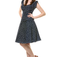 Navy &amp; White Scalloped Suzy Polka Dot Dress - Unique Vintage - Prom dresses, retro dresses, retro swimsuits.