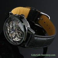 Mens Mechanical Gear Watch SteamPunk Black Plated Mickey Shape Dial