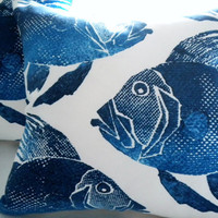 Navy Indoor/Oudoor Large  Fish pillow 20x20