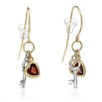 Modnique.com -  Sales Events - Ladies Garnet Earrings Designed In 10K Two Tone Gold