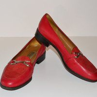 Vintage 1980s Red Leather Etienne Aigner Loafers slip on shoes size 7 M Flat Shoes