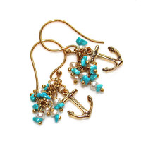 Kingman Turquoise Earrings Gold Anchor Cluster Refuse to Sink Delicate Earrings Gemstone Jewelry