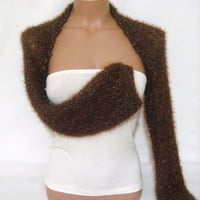 Knitted, Crocheted (Chocolate Brown) Long Sleeve Bolero Shrug by Arzu&#x27;s Style