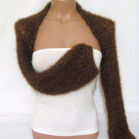 Knitted, Crocheted (Chocolate Brown) Long Sleeve Bolero Shrug by Arzu's Style
