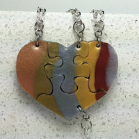 Heart Shaped Puzzle Necklaces Set of 4 Interlocking Necklaces metallic mix Polymer clay