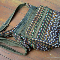 Ethnic Hmong Embroidery and Batik Messenger Bag Cross Body Tote