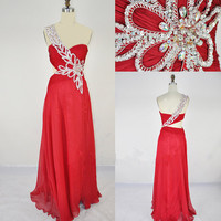 2013 Cheap New Style One Shoulder Sweetheart with Beading Chiffon Long Red Prom Evening dresses party dresses