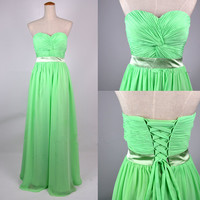 Cheap 2013 New Strapless Sweetheart Floor Length Lime Green Chiffon Prom Dresses