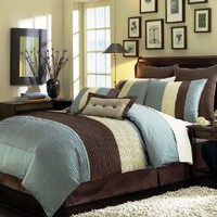 "Chezmoi Collection 8 Pieces Blue Beige Brown Luxury Stripe Comforter (90""x92"") Bed-in-a-bag Set Queen Size Bedding"