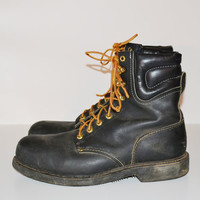 Vintage Men's Black Carolina Leather Steel Toe Work Boot Grunge Goth Motorcycle Boot Size 13