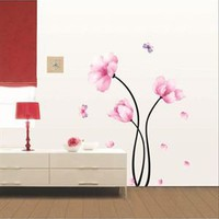 Ambiance Pink Flowers &amp; Butterflies Home Decor Sticker - Decorative Wall Stickers by Ambiance - Modnique.com