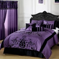 CozyBeddings 7pc Comforter Set Purple with Black Floral Flocking Bed-in-a-bag QUEEN Size Bedding