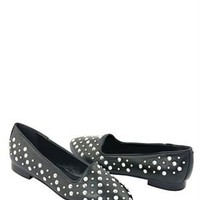 Eye Stud &amp; Spike Embellished Leather Flats - Italian Summer Shoes by Eye Brand - Modnique.com