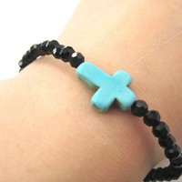 SALE - Cross Shaped Stretchy Bracelet in Blue on Black