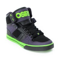 Osiris NYC 83 VLC Black, Purple, and Lime Green Skate Shoe