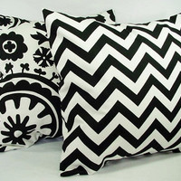 Black Throw Pillows - 18 x 18 inch Chevron and Suzani Decorative Throw Pillows - Couch Pillows - Accent Pillow