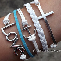 Lovers Bracelet--Unisex fashion silver cross,anchor and LOVE bracelet, white and blue wax rope, white leather braided leather bracelet