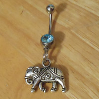 Belly button ring - Body Jewelry - Silver Elephant with Blue gem Belly Button Ring