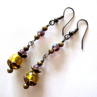 Bascarsija Nights - Spring Earrings -  Yellow Gold Murano Glass, Purple Glass, Copper Beads