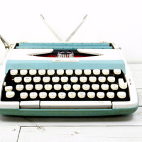Typewriter Blue Aqua Smith Corona Corsair 710 Portable Manual - Working