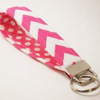 Pink Chevron Key Fob, Handmade Fabric Key Chain , Key Strap