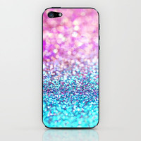Pastel sparkle- photograph of pink and turquoise glitter iPhone &amp; iPod Skin by Sylvia Cook Photography