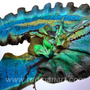 Felted scarf 3D ART made from wool and silk Teal Turquoise Olive Brown Green Shibori Tulips
