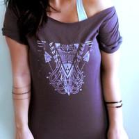 FREE SHIPPING- Aztec Inspired, Geometric Shirt, Off Shoulder Top, Boho Shirt, Slouchy shirt (women, teen girls)