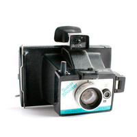 Vintage Polaroid Super Shooter Camera -  1970s Polaroid Land Camera / Blue & Black
