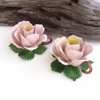 Flower Candle Holder, Porcelain Flowers, Large Rose / Taper Candle Holders / Pink / Green
