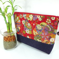 Gift For Her, Large Cosmetic Pouch, Kimono Cotton Pouch, Handmade Make-up Bag Japanese Kimono Cotton Fabric Cherry Blossoms Red