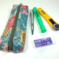 Unique Pencil Case, Kimono Pen Holder, Gift Idea Under 15, Zippered Pen Cases Japanese Kimono cotton fabric Peony Grayish blue