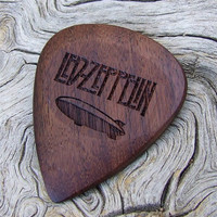 African Leadwood - Handmade Laser Engraved Premium Wood Guitar Pick - Led Zeppelin Tribute