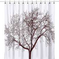 Tree Brown Fabric Shower Curtain